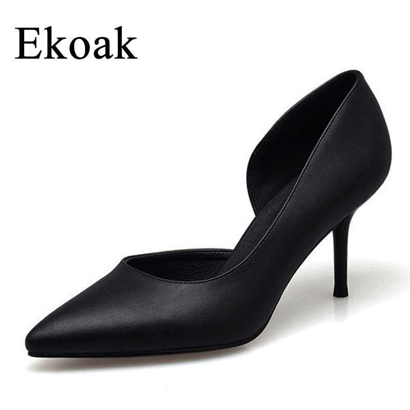 Ekoak New 2017 women pointed toe high heels Sexy Genuine Leather ladies Wedding women pumps Fashion Sheepskin Party shoes woman 2017 new fashion sexy pointed toe women pumps platform 11cm high heels ladies wedding nude pumps party shoes