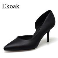 Ekoak New 2017 Women Pointed Toe High Heels Sexy Genuine Leather Ladies Wedding Women Pumps Fashion