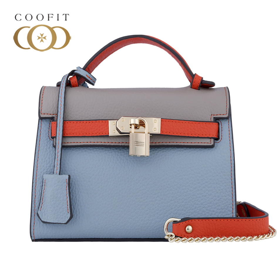 Coofit Womens Fashion Genuine Leather Handbag Unique Retro Shoulder Bag With Lock Perfect Quality Crossbody Bag Chain Strap Bags miel sisters womens coco perfect camisole