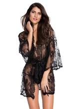 Hot Womens Sexy Lingerie Babydoll Sleepwear night-robe Night plus size L XL Pajamas nightgown Belted Lace Kimono Nightwear 21998