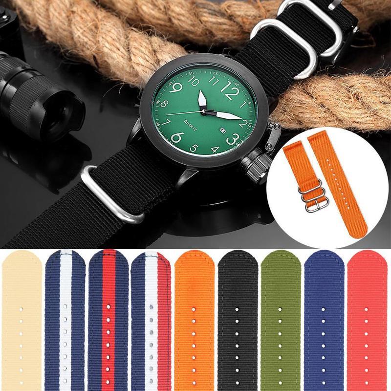 COCOTINA 1 Pair 18mm/20mm/22mm Nylon Braided Stripe Watchbands for Army Sport Watch Watchband Watch Strap Bracelet Montre shambhala one diamond rhinestone bead ball nylon braided bracelet
