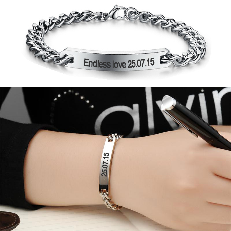 Customize Name Bracelet 316 Stainless Steel Id Bangles Personalized Custom Logo Men Jewelry Letters Bracelets For Women In From