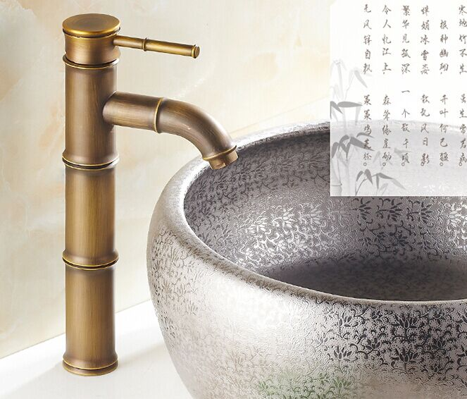 Premium Bamboo Design Antique Brass Single Handle Kitchen Sink Bath Basin Mixing Faucet Mixer