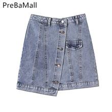 Fashion High Waist Denim Skirt Women 2019 Summer Casual Single Breasted Irregularity Mini Short Jeans Skirt Female C90 girls single breasted denim skirt