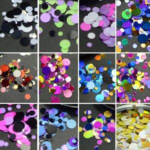 Image 2 - 1 Hộp Sáng Bóng Tròn Siêu Mỏng Paillette Móng Tay Kim Sa Lấp Lánh Kích Thước Hỗn Hợp Nhiều Màu Sắc Đầu Móng Tay Trang Trí Làm Móng 3D Móng Tay Phụ Kiện Lập