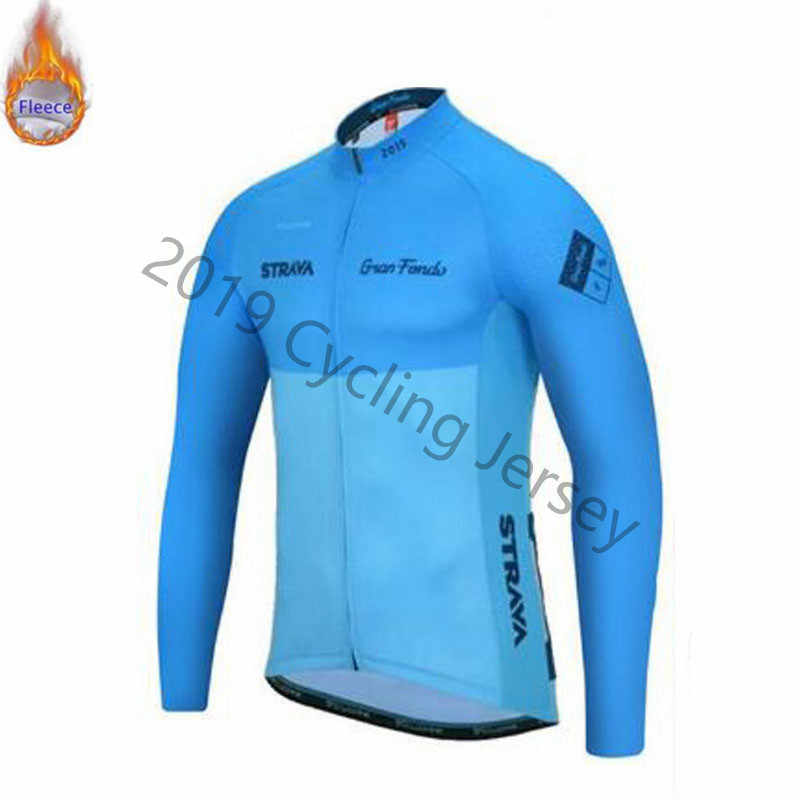 2019 STRAVA Cycling Jersey Men Winter Thermal Fleece Cycling Clothing Bike Wear shirt Long sleeve maillot ropa ciclismo hombre