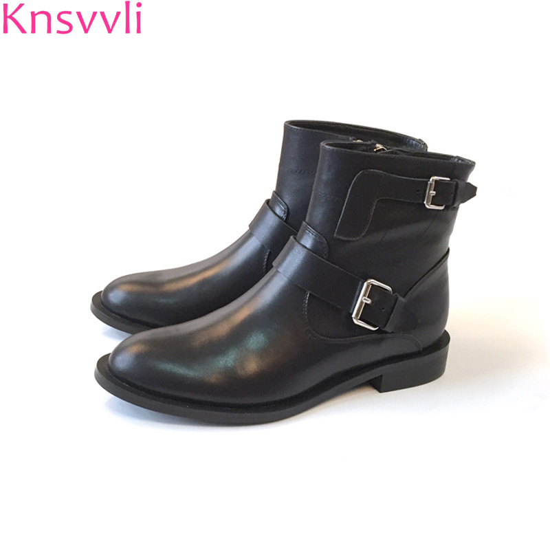 Belt buckle genuine leather black martin boots woman british style short boots ladies kid suede flat ankle boots for women xiuningyan flat black ankle boots for women kid suede short boots women female fashion low heel hademade ladies booties 2018 new