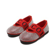 SKHEK Heart Rhinestone Girls Princess Shoes Gold Red Black Leather Kids for Dance Party Girl Single