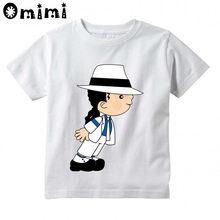 Crianças rock n rolo estrela michael jackson bad cartoon impresso camiseta crianças música topos meninos/meninas moda t camisa, ooo5144