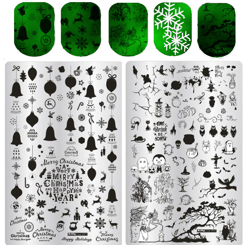 ZJOY Plus Series Nail Stamping Plate Big Size Halloween Christmas Valentine Thanksgiving Celebration Nail Art Image Template wholesales new a t series xl medium size stamp nail art stamping image plate print nail art large big template diy