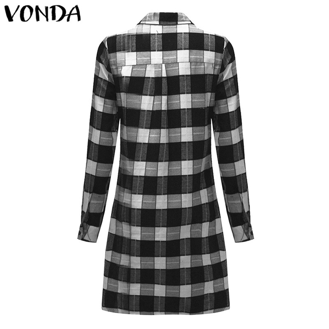 VONDA Pregnant Women Plaid Blouse Shirts 2018 Spring Fall Vintage Lapel Long Sleeve Pregnancy Tops Plus Size Maternity Clothings 3