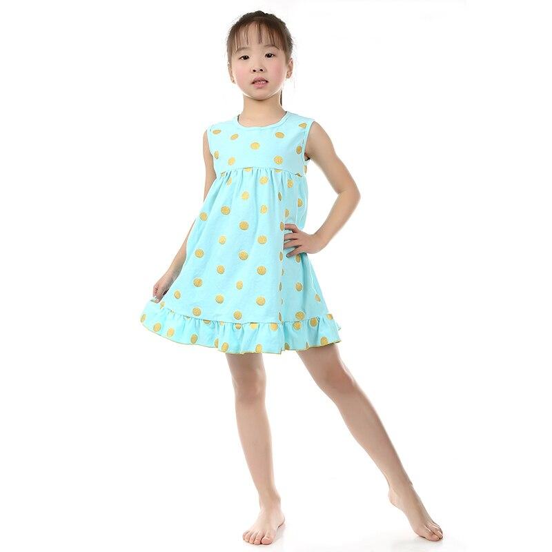 Buy Girl Dresses Summer 2016 Style Fashion Sleeveless Cotton Polka Dots Kids