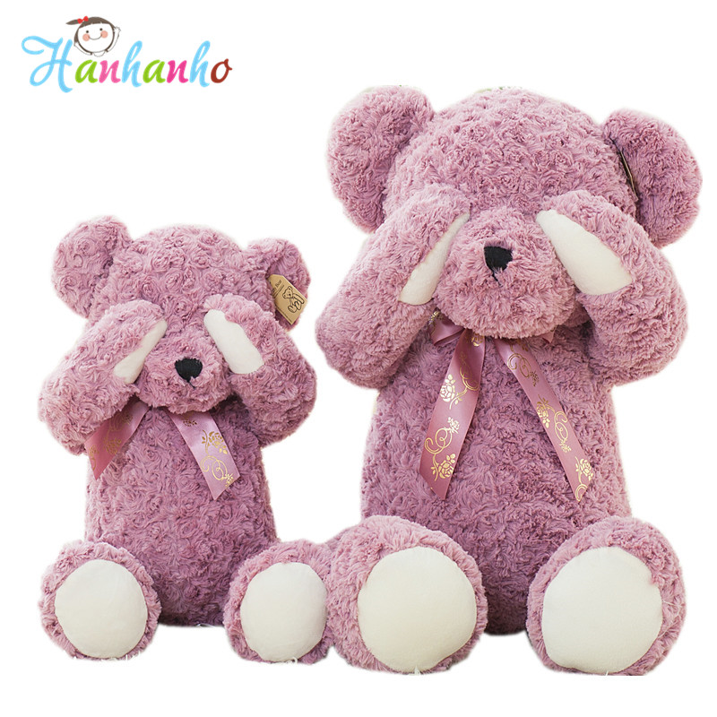 Милый Застенчивый фиолетовый Мишка для куклы чучело магнит внутри плюшевые игрушки детский день рождения