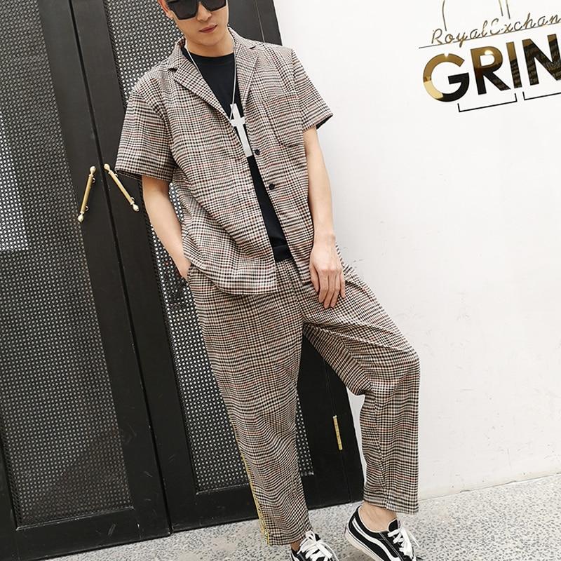 M 6XL!! retro casual xadrez manga curta conjunto de camisa de colarinho solto camisa de cabelo estilista maré britânica. - 3
