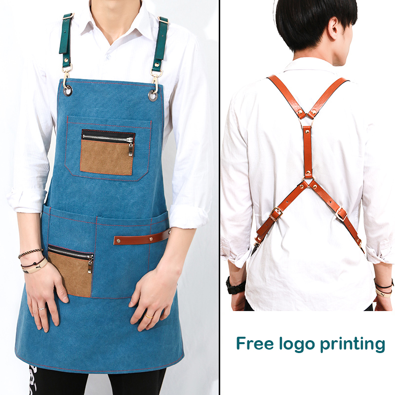 Hot Sale Canvas Aprons for Women men BBQ Senior Bib Leather Straps Kitchen Barber cooking Coffee