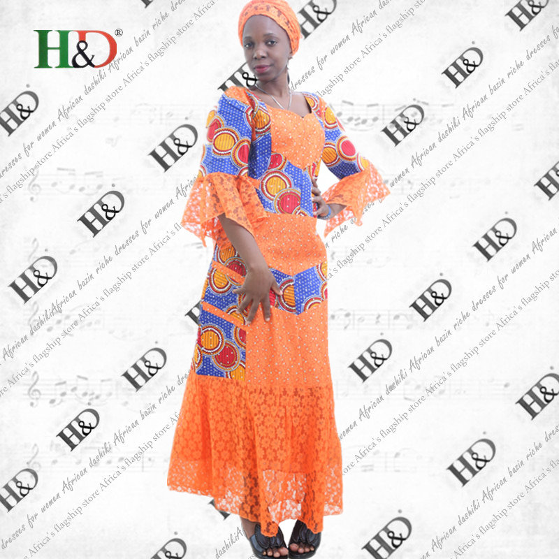 H&D  2017 African New Style Top Level Lace Fabric Combination Wax Fabric African Traditional Craft Woman Dress Two Sets
