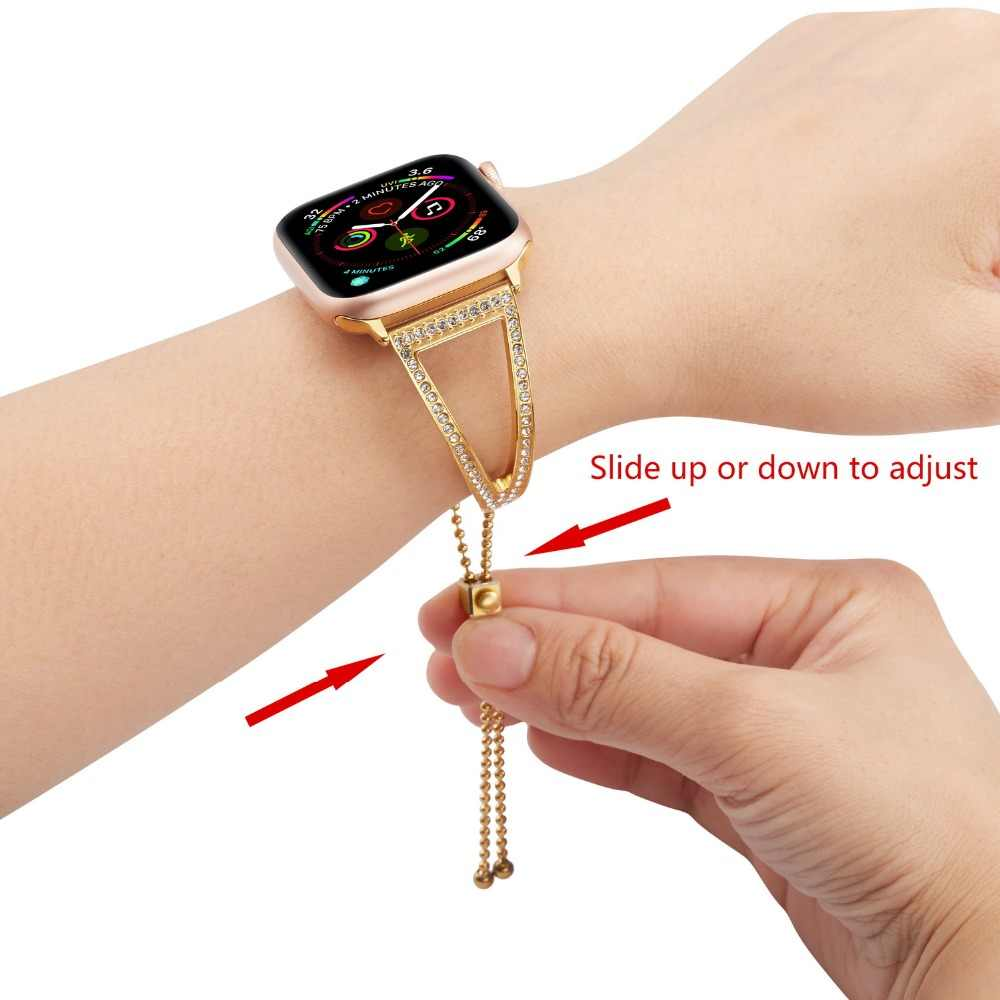 Rhinestone Bangle strap for apple watch band 44/40mm Women watches accessories bracelet for iwatch bands 42mm series 3 2 1 38mm