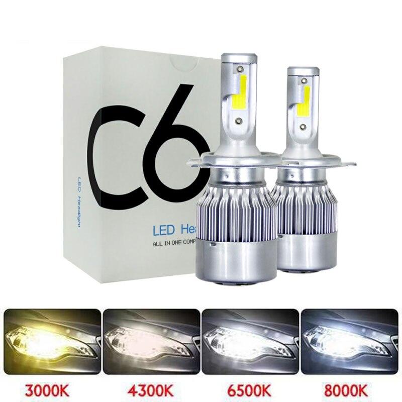 Muxall 2 pçs blub carro automático h8 h11 h7 h4 h1 led faróis 6000 k branco fresco 72 w 8000lm cob lâmpadas diodos peças de automóveis lâmpada