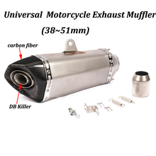 51mm Universal Motorcycle Exhaust Muffler Modified with Real Carbon Fiber+stainless Steel for Moto Escape CRF230 CRF150F XG250