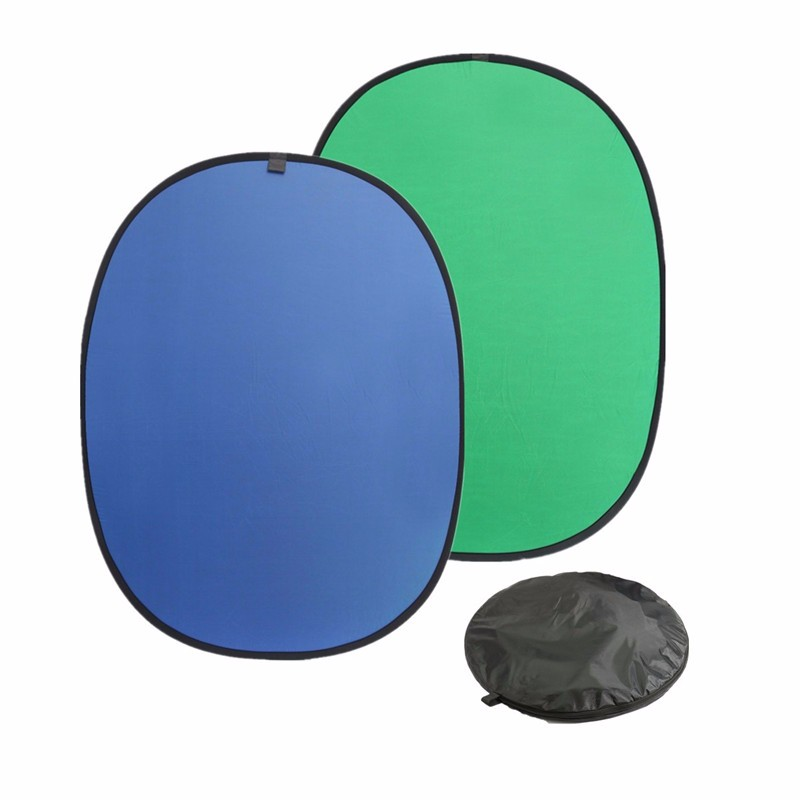 59 x82 6 collapsible reflector Green Blue Popup Backdrop Reversible Collapsible Studio Screen Cloth Background Oval