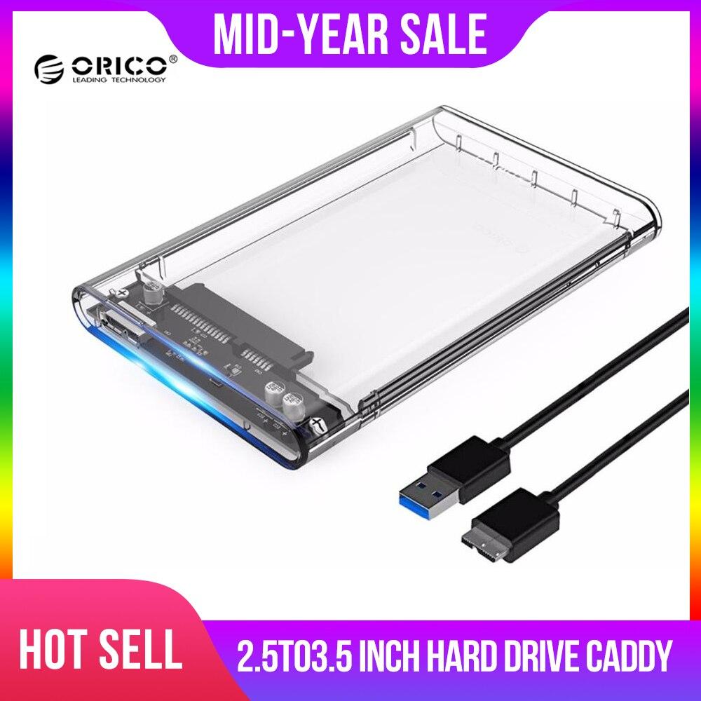 2.5 inch Transparent USB3.0 HDD Case Tool Free UASP Hard Drive Enclosure SATA3.0
