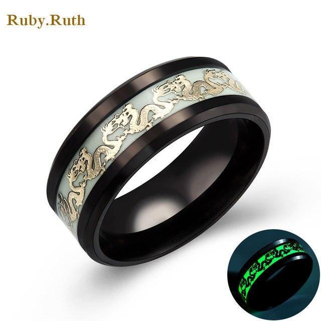Luminous Dragon Rings For Men Black Gold Silver Stainless Steel