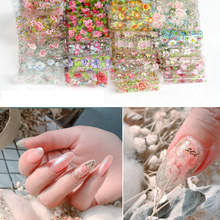 1pc Rose Nail Foil Colorful Flowers Starry Foil Paper Floral Transfer Stickers Manicure Nail Art Decorations 4cm*50cm