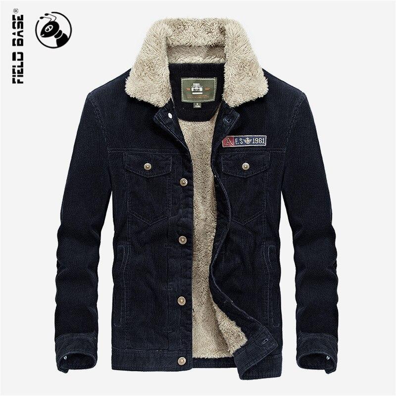 Field Base Corduroy Winter Jacket Men's Coat Thick Warm