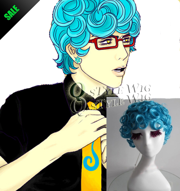 JOJOS BIZARRE Anime Cosplay Wig Blue Color Role Wave Curly Hair Or Buddha