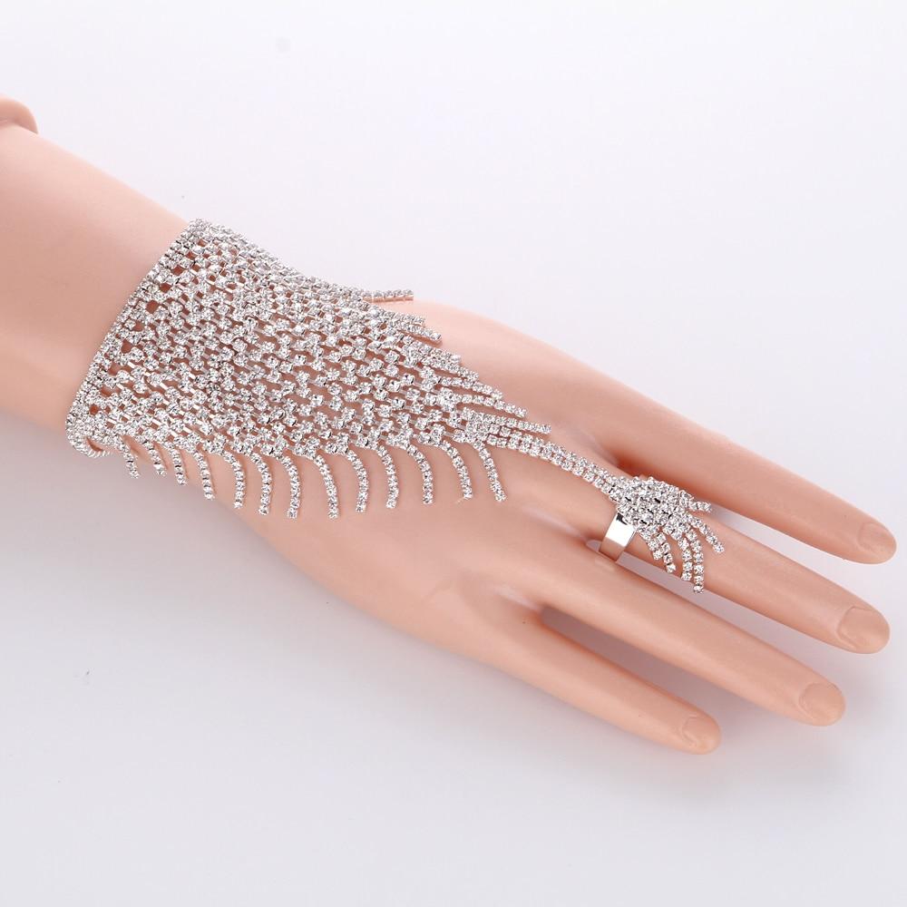 Ring Bracelet Chain: Slave Silver Hand Crystal Chain Ring Bridal Bracelet