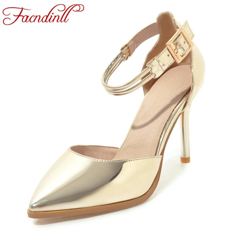 FACNDINLL brand designer shoes woman patent leather buckle pumps super high heels sexy pointed toe ladies party wedding shoes facndinll new black patent genuine leather pointed toe rhinestone sexy high heels lace up women pumps ladies party casual shoes