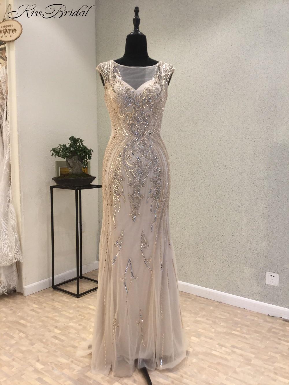 vestido de noche New Shining 2018 Scoop Cap Sleeve Floor Length Beading Tulle Mermaid Long   Prom     Dresses   Evening Gowns