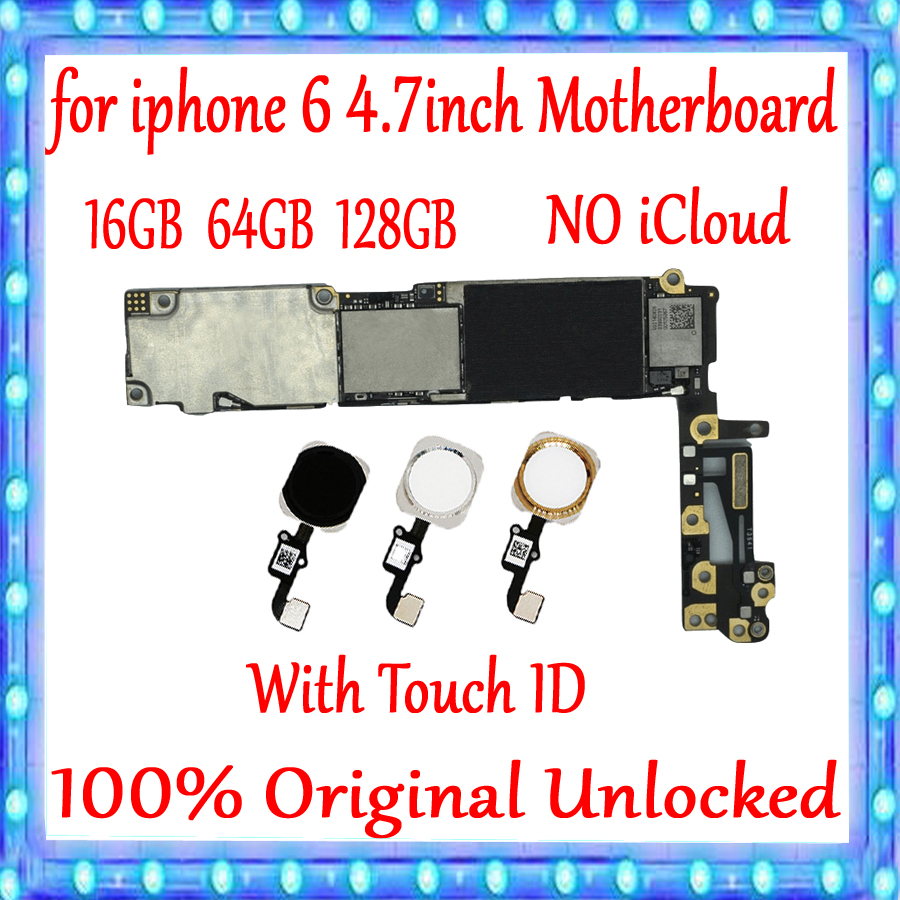Factory unlocked for iPhone 6 4.7inch Motherboard With Touch ID/Without Touch ID 100% Original for iphone 6 Logic board+ChipsFactory unlocked for iPhone 6 4.7inch Motherboard With Touch ID/Without Touch ID 100% Original for iphone 6 Logic board+Chips