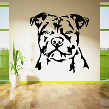 Top Selling Bull Dog Head Staffordshire Bullterrier Wall Sticker Vinyl Home Room Decor Mural  Decals Y-830