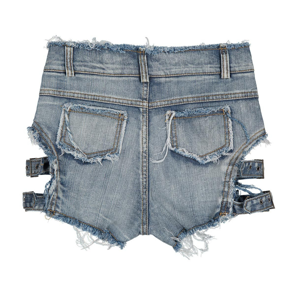2018 Summer Sexy Women Denim Shorts Hollow Out Bandage Punk Rock High Waist Shorts 11
