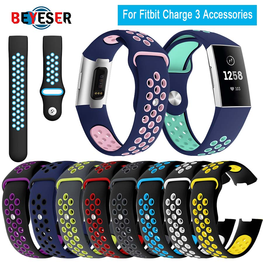 Watch Band For Fitbit Charge 3 Outdoor Sport Soft Silicone Replacement Band For Fitbit Charge3 Wristband Bracelet Watch Strap