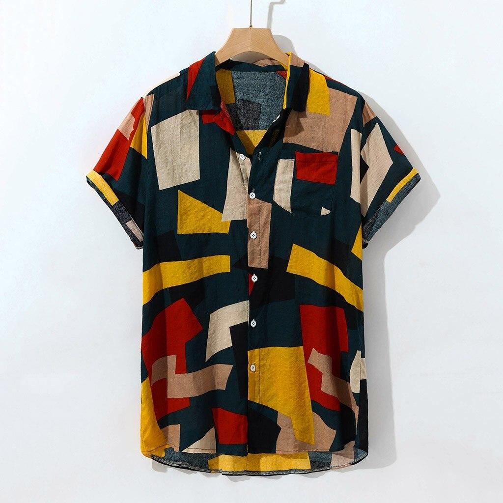 Shirt Casual Blouse Short-Sleeve Large-Size Button-Painting Fashion Men -Z20 Top Camisas-De-Hombre