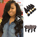 Grade 7A Raw Indian Virgin Hair Loose Wave With Frontal Ear to Ear Closure Remy Human Hair Bundles With Lace Frontals Curl Weave