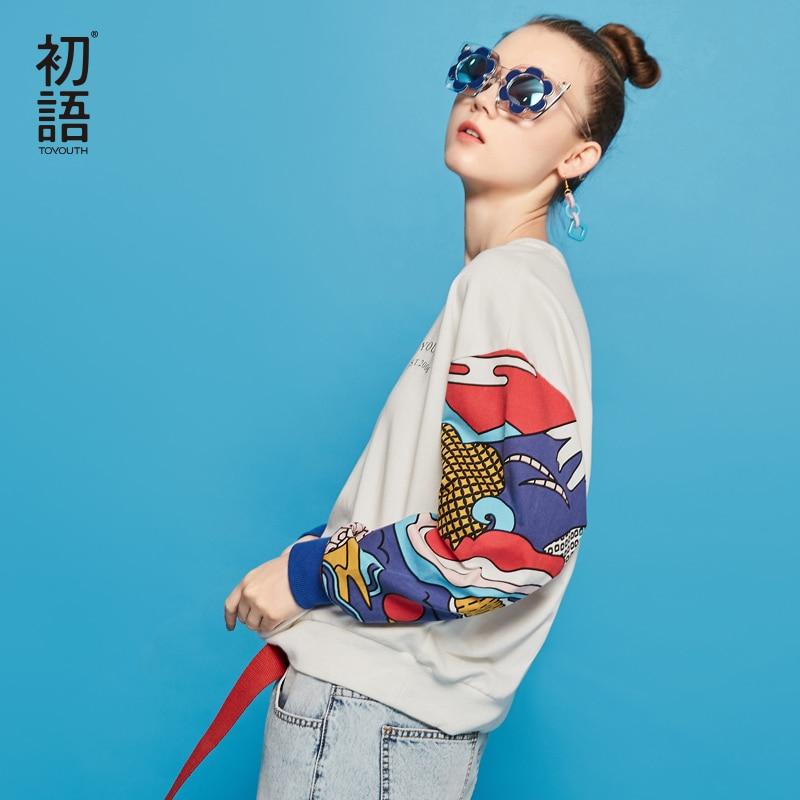 Toyouth Harajuku Hoodie Brand 2018 Ukiyo-e Japanese  Printed Women Long Sleeve Pullovers O-neck Patchwork Sweatshirt Tracksuit