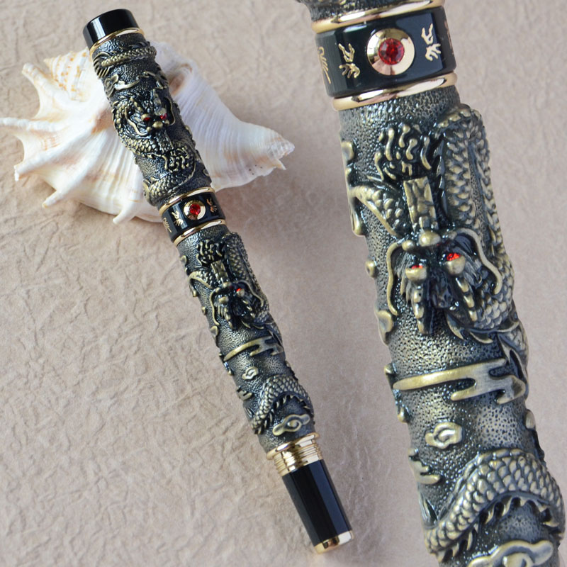 JINHAO ANTIQUE BRASS TWO DRAGON PLAY PEARL ROLLER BALL PEN CRYSTAL jinhao ancient dragon playing pearl roller ball pen with jewelry on top with original box free shipping