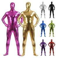 2019 Men Metallic PVC Leather Full Bodysuit Skin Suit Zentai Leotard Cosplay Party Costume Hooded Zentai Shiny Wet Look Jumpsuit
