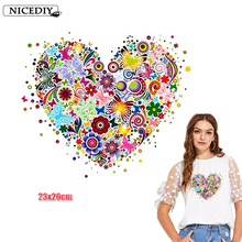 Nicediy Iron On Transfer Patches Heat Vinyl Sticker Transfers For Clothes T-shirt Colorful Heart Patch Applique
