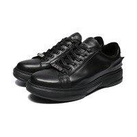 נעליים מקריות של הגברים מותג האופנה הדפסת 3D HEYIYI החליק שרוכי נעליים שחור עור אמיתי חורף סתיו נעלי נעלי אופנה שטוחה