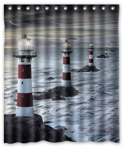 CHARMHOME Custom Polyester Fabric Waterproof Bathroom Shower Curtain  Lighthouses Sunset