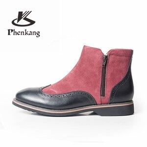 Image 3 - الشتاء الرجال الأحذية جلد طبيعي البقر المدبوغ الكاحل تشيلسي الأحذية حذاء رجالي اليدوية أكسفورد أحذية للرجال أحذية بوت قصيرة أحذية 2020