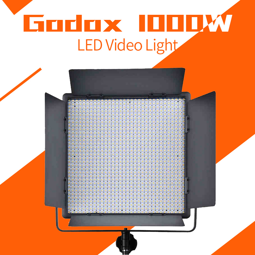 Godox 1000 LED Lamp Panel LED1000W 5600K White Video Light Lighting+ Power cable + Wireless Remote godox professional led video light
