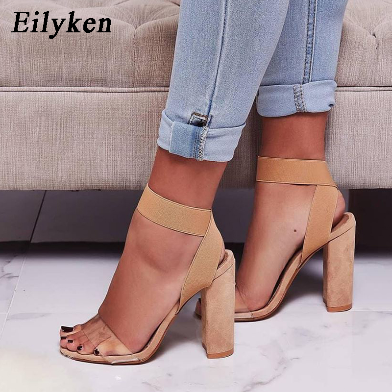 Eilyken High Heels 2019 New Women Sandals Open Toe Stiletto Square heel Ladies Casual Stretch Fabric Sandal Shoes High Quqlity high heels
