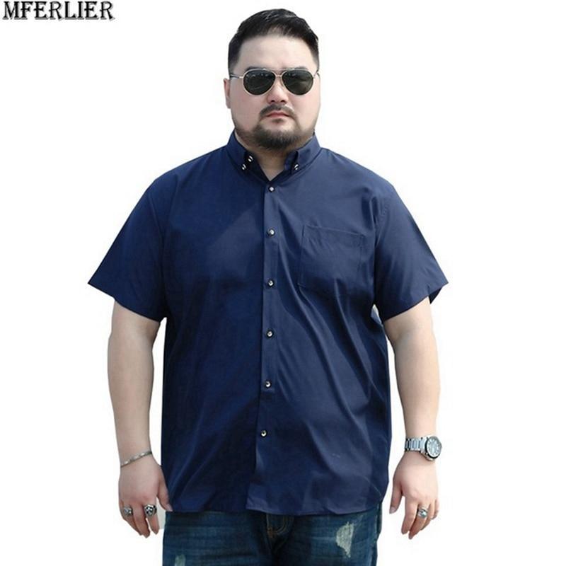 MFERLIER men 8XL 9XL shirts 10XL 7XL plus size big larger 5XL 6XL cheap short sleeve summer dress plaid shirts casual navy blue(China)