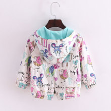 2017 New 2-8T spring&summer girls jackets casual hooded outerwear for girls fashion Hand Painted kids Sunscreen clothing girls