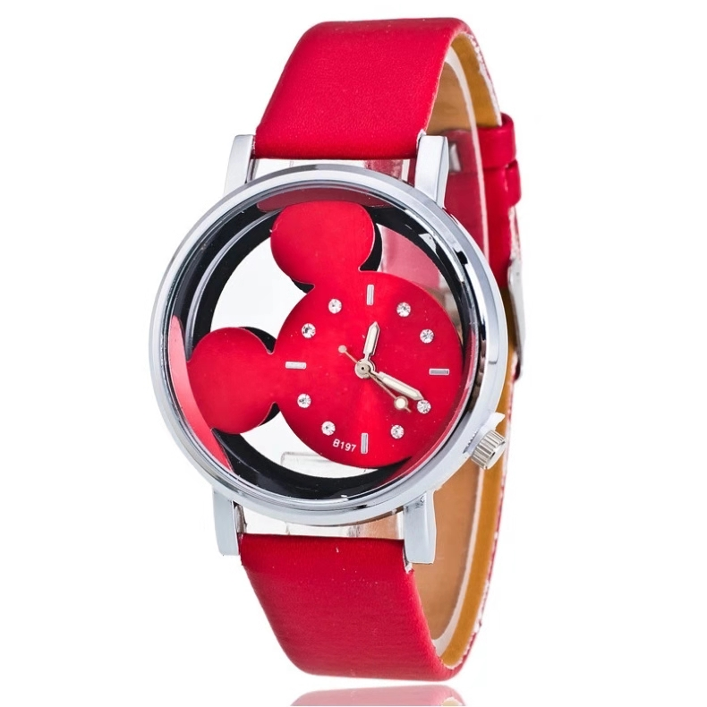 Hot Style Children's Cartoon Mickey Watch With Double Hollowed-out Water Drill Scale Belt Student Quartz Watch